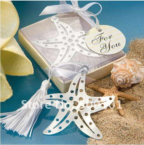 100PCS LOT wedding favor party starfish metal bookmark baby gift book mark with tassel festival Christmas in Party Favors from Home Garden
