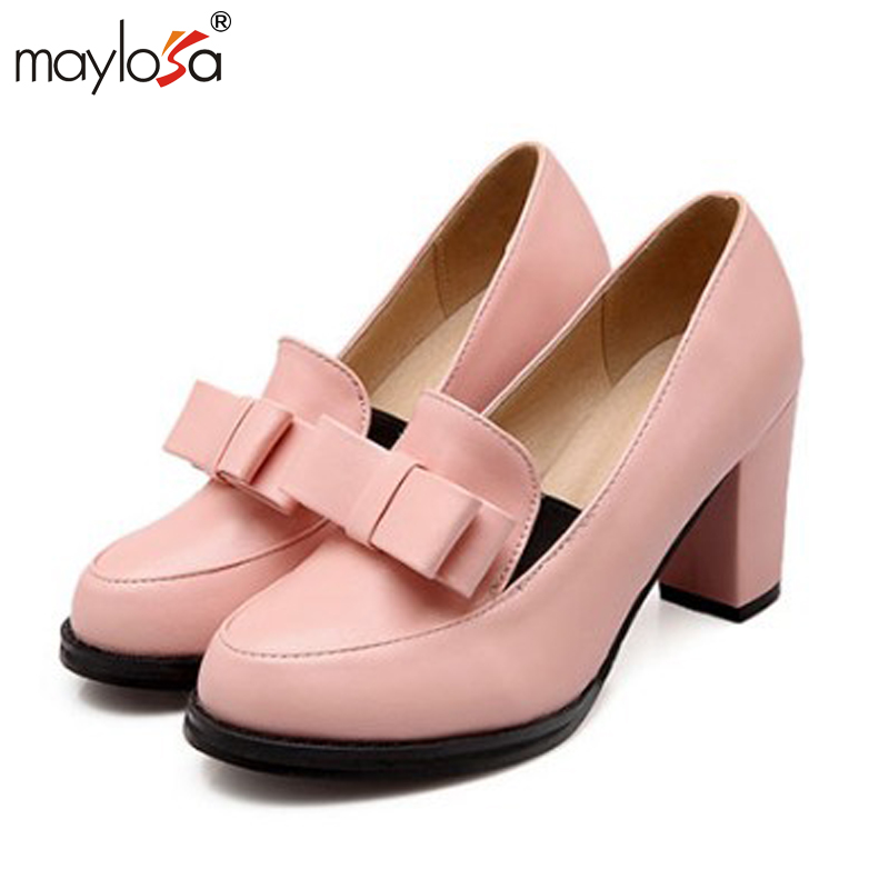 ФОТО 2016 Preppy Style Colored Shiny Cracked Bow Tie Thick Heel Pumps Women Casual Sweet Round Toe Slip-On Loafers Shoes Office Heels