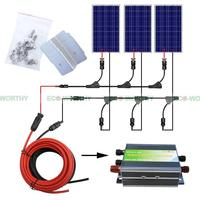 300 Вт солнечная система Полный комплект 3*100 Вт фотоэлектрический PV солнечная панель системы, солнечный модуль для RV лодка, автомобиль, домаш