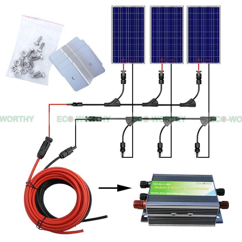 300w solar system complete kit 3 *100W photovoltaic PV solar panel system , solar module for RV boat, car , home solar system 3 8 pneumatic one way design air flow control valve re 03