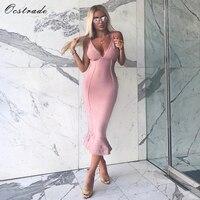 Ocstrade Bandage Dresses 2017 New Arrivals Spaghetti Flush Sexy Deep V Neck Fluted Bandage Midi Dresses