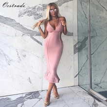 Ocstrade Bandage Dresses 2017 New Arrivals Spaghetti Flush Sexy Deep v Neck Fluted Bandage Midi Dresses Bodycon for Women
