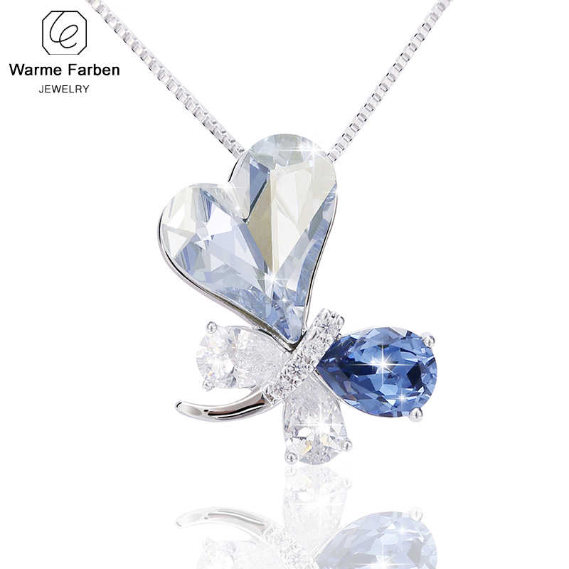 2019 Fashion Jewelry Necklace for Women Swarovski Crystal Butterfly Pendant Necklace Collares Gift for Lady Three Colors