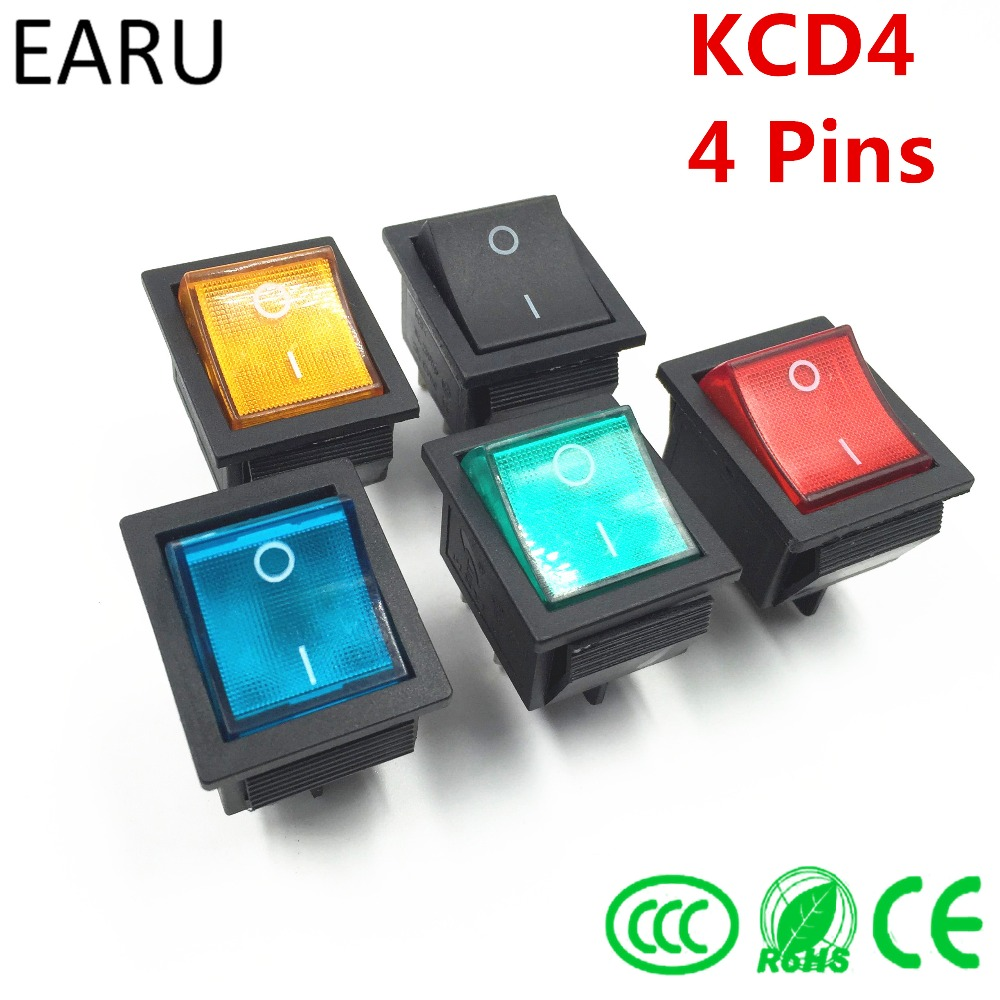 Latching Rocker Switch Power Switch I/O 4 Pins With Light 16A 250VAC 20A 125VAC KCD4 DPST Red Yellow Green Blue Black Boat