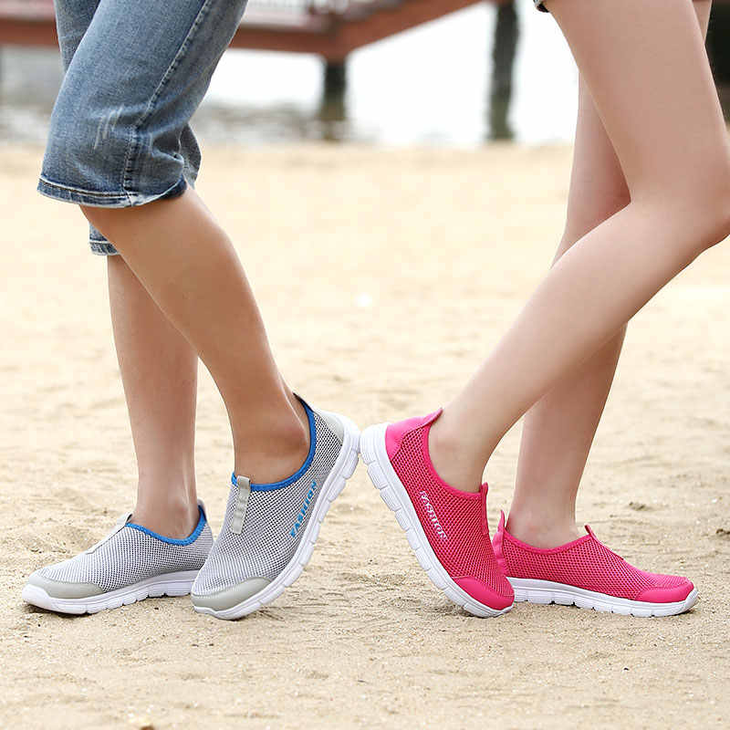 8c55ee32b Модная летняя обувь Для мужчин Повседневное дышащие сетчатые Slip-on  больших размеров Туфли без каблуков