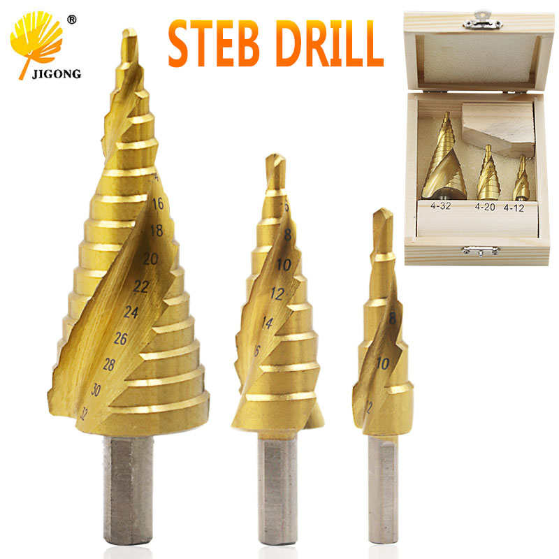 4-32mm 3pcs = 1 set The Pagoda Shape HSS Drilling Triangle Shank Metalworking High Speed Steel Step Drill Bit Hole Cutter Tools