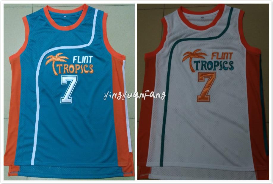 quality design 70742 982d9 US $20.5 |Retro Basketball Jersey Movie Semi Pro Flint Tropics #7Coffee  Black Throwback Jerseys men white green All Stitched-in Basketball Jerseys  ...