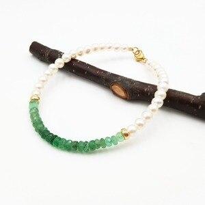 Image 3 - LiiJi ייחודי טבעי אמרלד מים מתוקים פרל חרוזים 925 סטרלינג כסף זהב צבע/גולדפילד צמיד נחמד מתנה עבור נשים