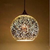 Cam Top Kolye Lamba Meteor 3D Sparklers Fireworks Renkli Kolye Işık 15/20/25/30 cm Droplight Cafe Restaurant Bar için