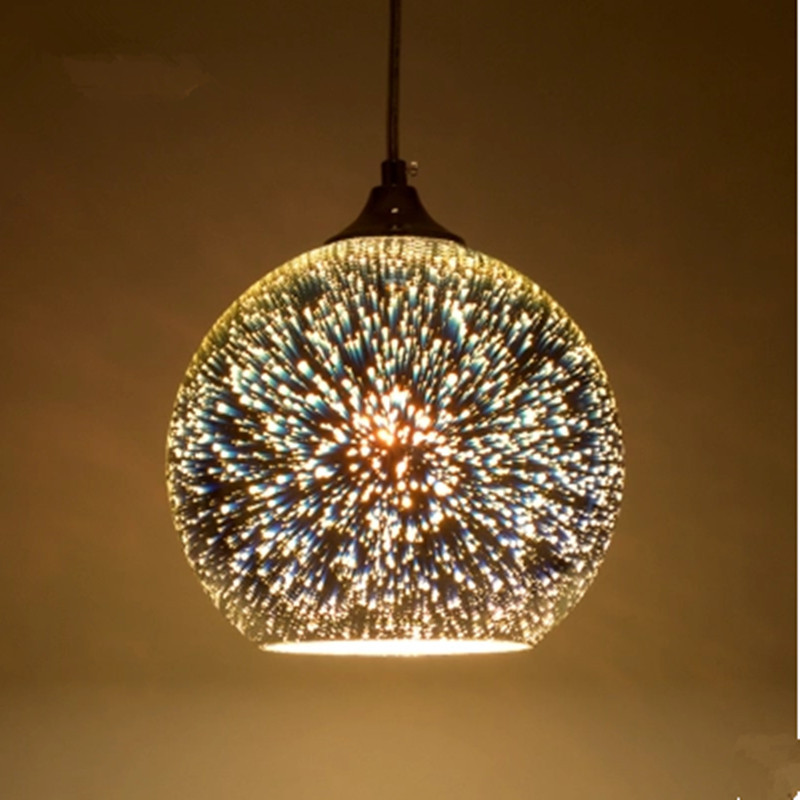 Glass Ball Pendant Lamp Meteor 3D Sparklers Fireworks Colorful Pendant Light 15/20/25/30cm Droplight For Cafe Restaurant Bar 15 19 25 37 heads droplight clear bubble ball goose egg birds eggs duck egg double deck glass ball transparent pendant light