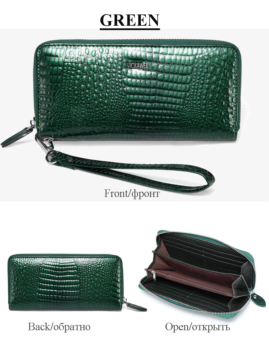 VICKAWEB Wristlet Wallet Purse Genuine Leather Wallet Female Long Zipper Women Wallets Card Holder Clutch Ladies Wallets AE38-020