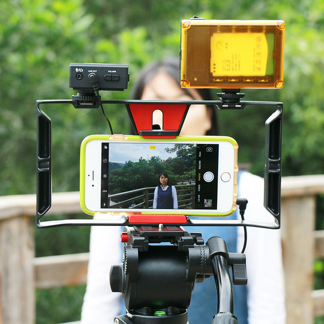 Ulanzi Handheld Smartphone Video Rig With 2 Hot Shoe Mounts Vlogging Rig Stabilizer for iPhone Instagram Video Microphone LED 4