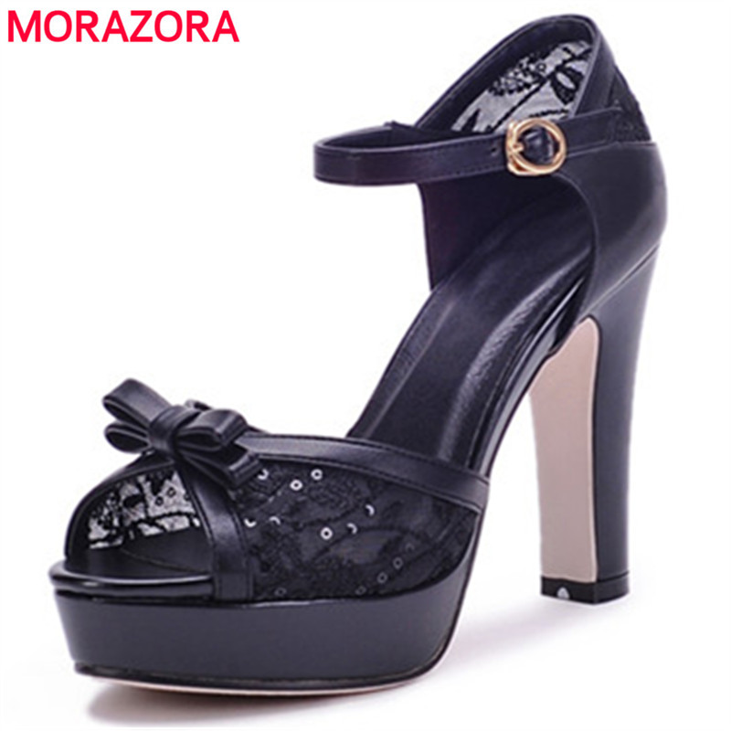 MORAZORA Large size 34-44 women sandals spuer heels shoes fashion sweet party shoes PU solid buckle platform shoes peep toe morazora 2018 new women sandals summer sweet bowknot comfortable buckle spike high heels platform shoes peep toe shoes woman