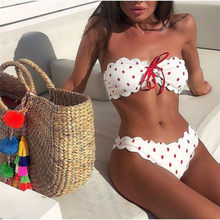 bikini 2019 tube top swimsuit female off shoulder swimwear Dot print bathing suit Special fabric beachwear Women's Swimming Suit(China)