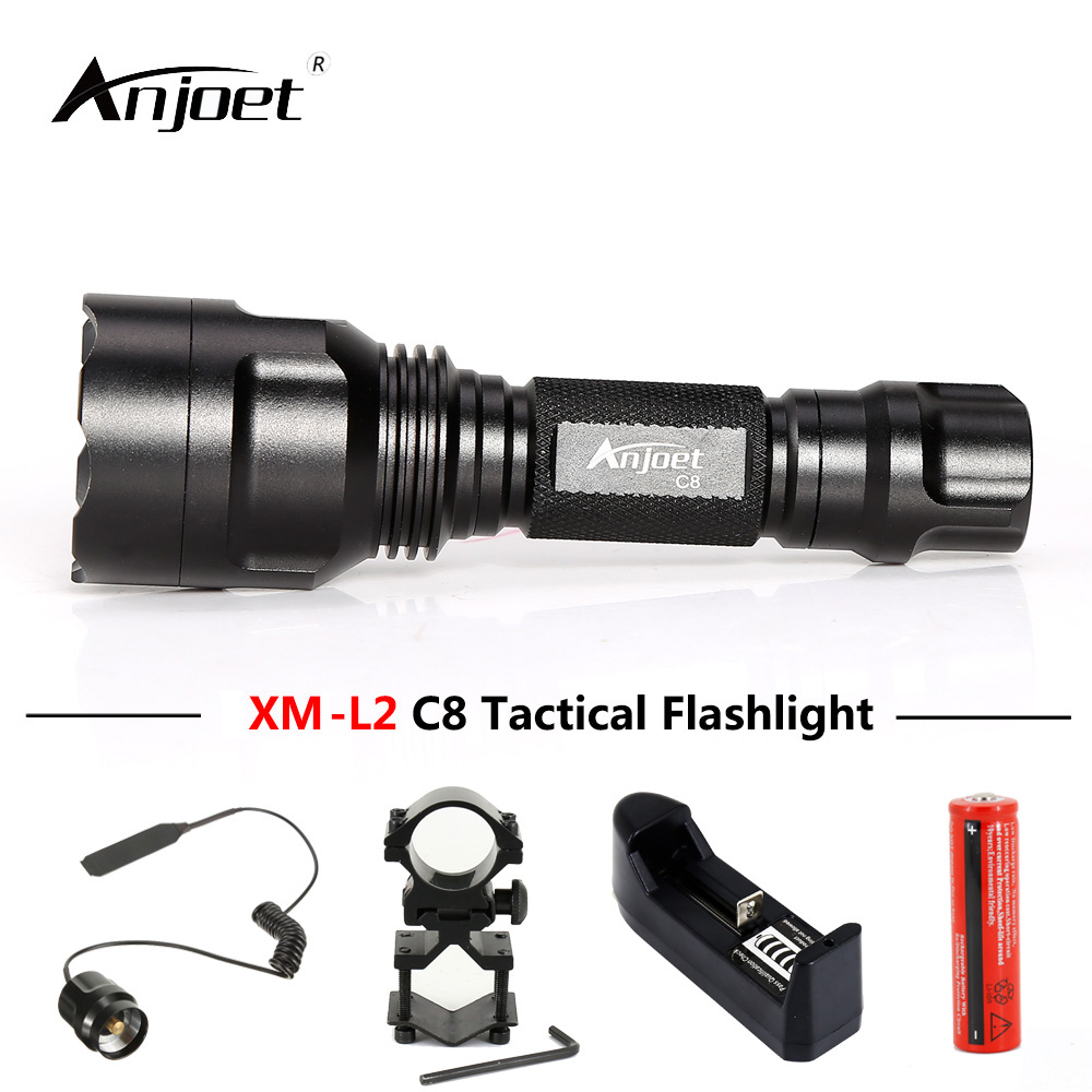 ANJOET C8 Self-defense flashlight 5 modes XML T6 Q5 L2 LED 1198LM Aluminum Single file Tactics Torches Lamp for Camping Cycling sitemap 42 xml