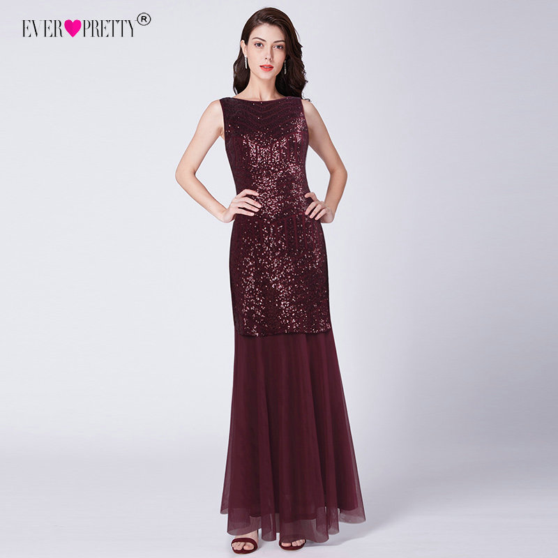 Burgundy Mermaid   Prom     Dresses   Long Ever Pretty EZ07649 Sequined Tulle Sleeveless Abendkleider 2019 Sexy Evening Formal Gown