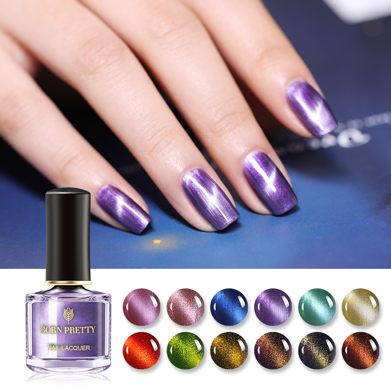 BORN PRETTY Star 3D Cat Eye Nail Polish Colorful Magnetic Effect Green Purple Shining Nail Art Manicure 6ml Nail Varnish