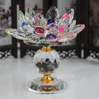 Decor Big Tealight Candle Stand Holder Candlesticks Crystal Glass Block Lotus Flower Metal Candle Holders Feng Shui Home