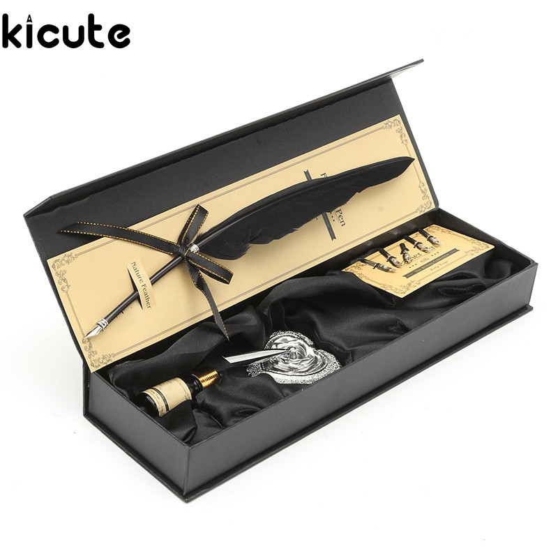 Kicute Black Swan Feather Vintage Quill Metal Dip Pen Set With 5 Nips Writing Ink Set Case Box Fountain Pen Stationery Gift gift box vintage harry potter metal curved natural swan feather pen set with 5 nibs pen stand wax name seal quil