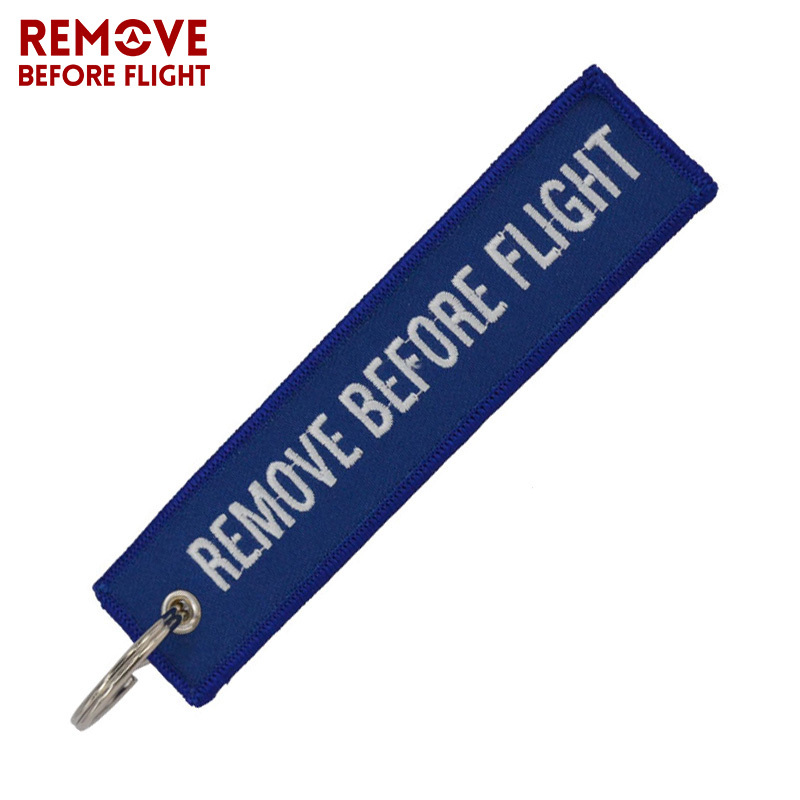Remove Before Flight Keychain for Important Things Tag Blue Embroidery Key Fobs OEM Key Chain Jewelry Aviation Gifts for Men (2)