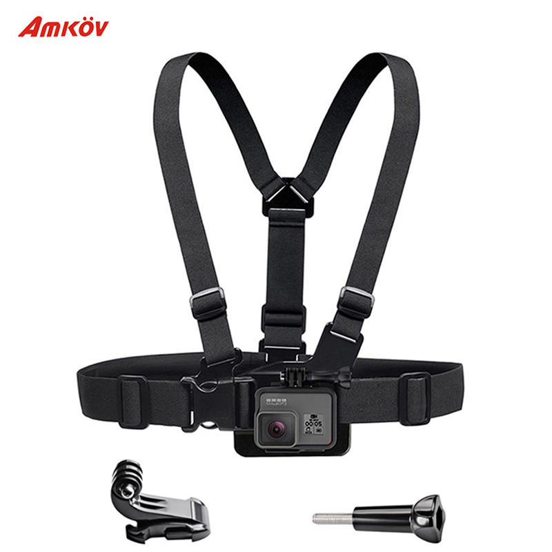 AMKOV Sport Camera Chest Strap Mount for Gopro Hero 5 4 Xiaomi Yi 4K Action Camera Chest Mount Harness for Go Pro SJCAM SJ4000 16in1 gopro accessories set helmet harness chest belt head mount strap monopod for go pro hero 5 4 3 2 1 xiaomi yi action camera