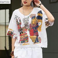 Korean Vintage Cotton Tops Shirts White Women Cartoon Print Tshirt Female Casual Designer Clothes Tee Shirts plus size LT973S50