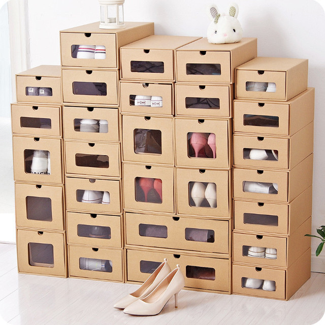 WCIC Paper Shoe Storage Sports Shoes Holder Makeup Box Rectangle