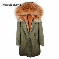 X длинная парка Настоящее пальто с мехом зимняя куртка женские мех енота воротник выстроились с Фукс меховые парки