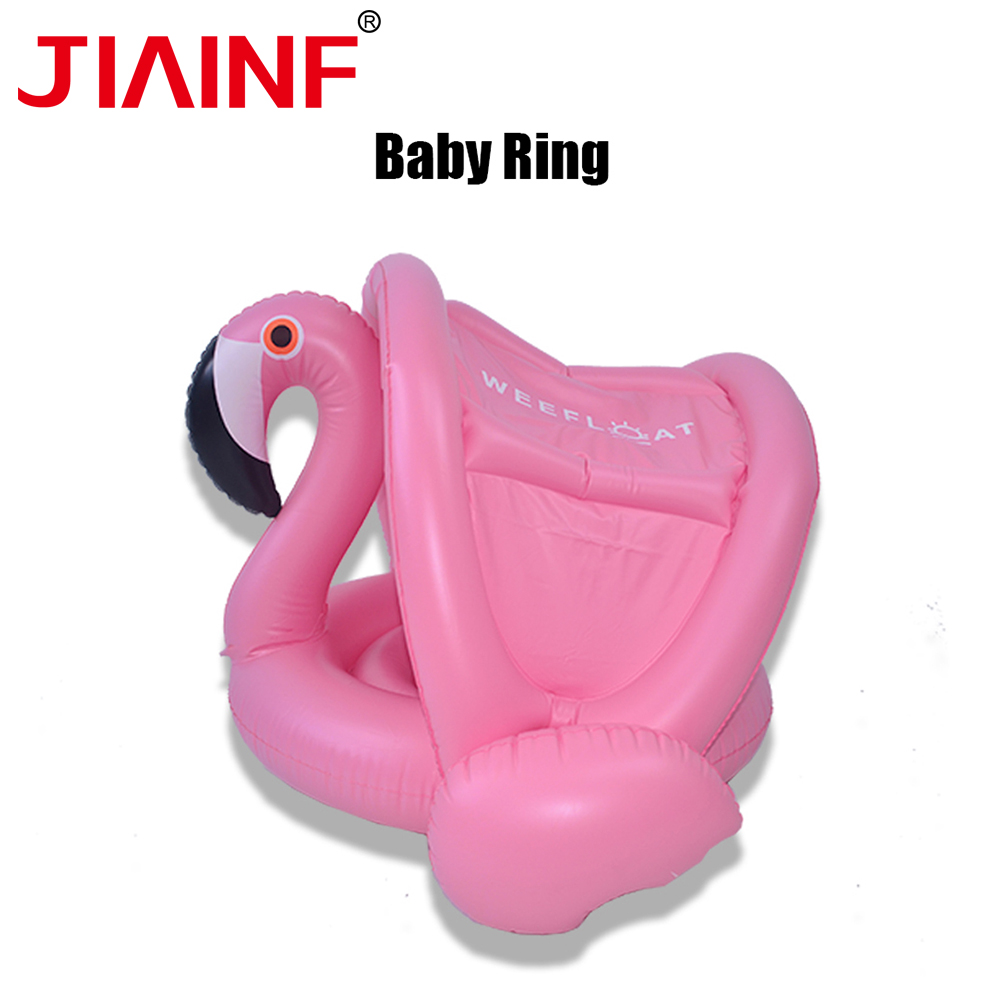 JIAINF Kids Children Flamingo Pool Float Pink Flamingo With Awning New Arrival Swimming Pool Flamingo Inflatable Ring With Seat