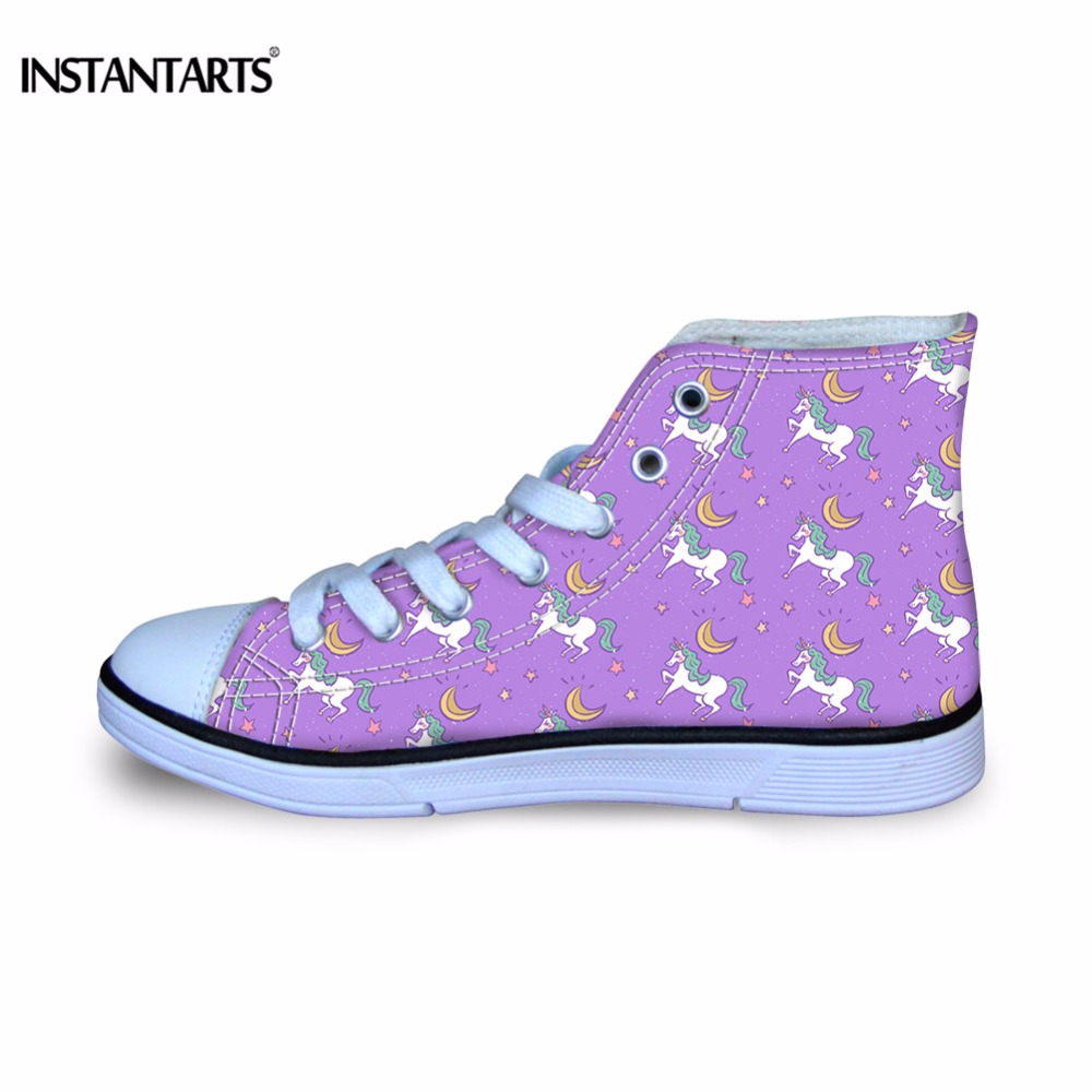 INSTANTARTS Purple Teenage Girl Flats Shoes 3D Crazy Horse Print Kid Autumn Sneakers Classic Vulcanize High Top Canvas Zapatilla террариум ferplast jamaica 110 scenic серебристый полукруглый 110х55х48см