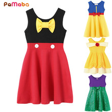 PaMaBa Girl Fashion Summer Clothing Kid Princess Snow Withe Casual Dress Toddler Baby Minnie Frock 100% Cotton Party Clothes