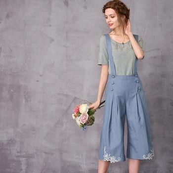 ARTKA 2018 Summer& Summer Lace embroidery strap Floral Tallie Denim Vintage Wide Leg Short Pants KA10671X
