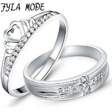 Fyla Mode 1Pair=2pcs 925 Sterling Silver Ring Jewelry Engagement Love Crown Cross Zircon Wedding Lovers Couple Rings Women Men