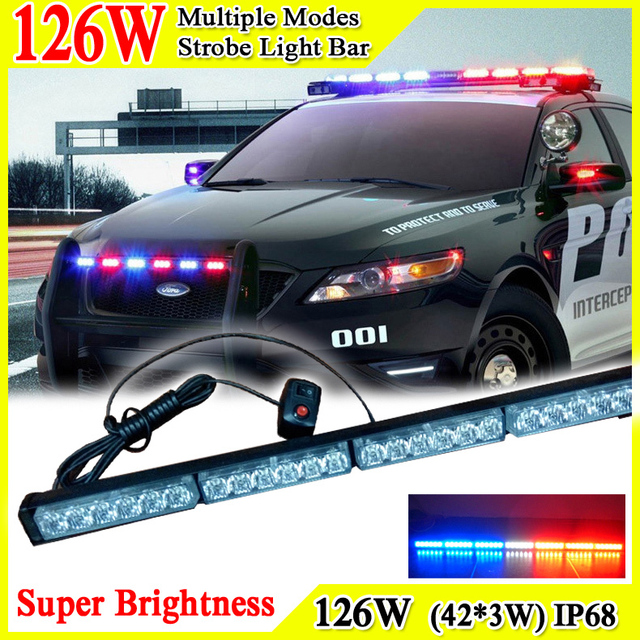 41inch 126w car roof led strobe lights bar police emergency 41inch 126w car roof led strobe lights bar police emergency warning fireman engineering vehicles atv flash mozeypictures Image collections