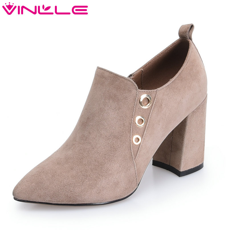 VINLLE 2018 Women Boots Shoes Ankle Boots Zipper Square High Heel Kid Suede Pointed Toe Ladies Motorcycle Shoes Size 34-39 esveva 2018 women boots zippers black short plush pu lining pointed toe square high heels ankle boots ladies shoes size 34 39