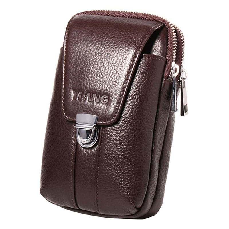 YIANG Genuine Leather Men Waist Hook Bag Belt Bum Small Money <font><b>Cell</b></font>/Mobile <font><b>Phone</b></font> Cigarette Case <font><b>Purse</b></font> <font><b>Pouch</b></font> Male Fanny Pack New