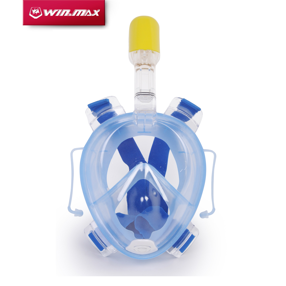 Winmax新しい到着水中スキューバダイビングmergulhoアンチフォグフルフェイスダイビングマスクシュノーケリングセット付きイヤープラグとシュノーケル