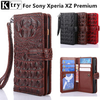 K Try For SONY Xperia XZ Premium Wallet Flip Case Cover Luxury Crocodile Pu Leather With