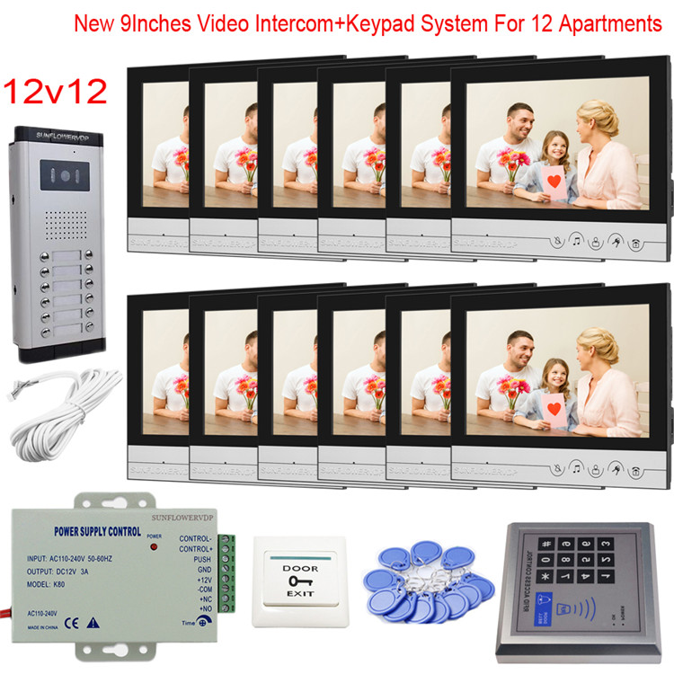 "Touch Key 9"" Monitor Intercom Doorbell Apartment 6/8/10/12 Interphone Video With Rfid Code Access Control System Video Call"