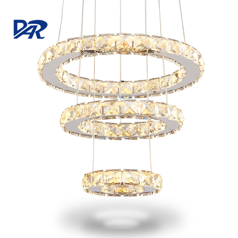 Remote Control Crystal Rings Chandeliers For Dining Room Mirror Stainless Steel Modern Led Chandelier Lighting lustre cristal modern crystal chandelier led hanging lighting european style glass chandeliers light for living dining room restaurant decor