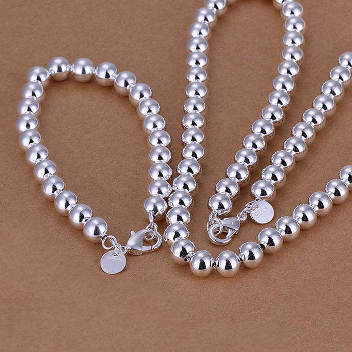 silver plated jewelry set, fashion jewelry set 8Mm Bean /cqvalica dcnaltua LKNSPCS081