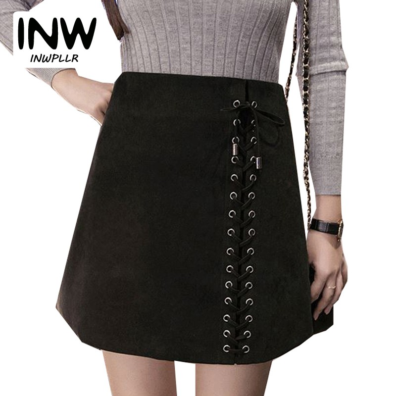 4610f12e9509a Women Skirts Black Mini Suede Skirt For Women 2018 Summer High Waist Faldas  Mujer Lace-up Skirts Jupe Femme Lace Up Skirts Ete