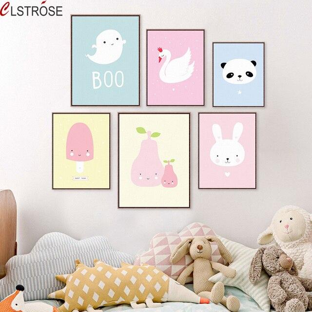 CLSTROSE Nowoczesne Nordic Kawaii Dla Kota Królika Penguin Panda Płótnie malowanie Na Wall Art Picture Kid Baby Nursery Room Home wystrój