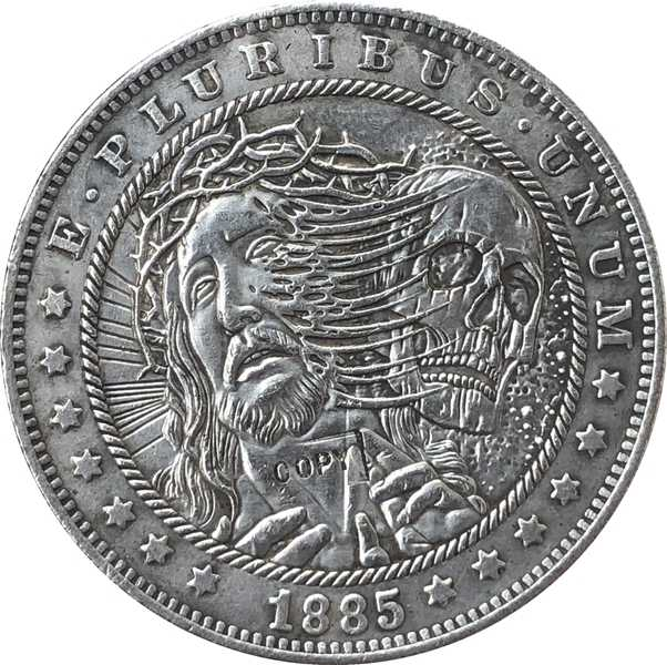 Hobo Nikkel 1885-CC VS Morgan Dollar MUNT COPY Type 126