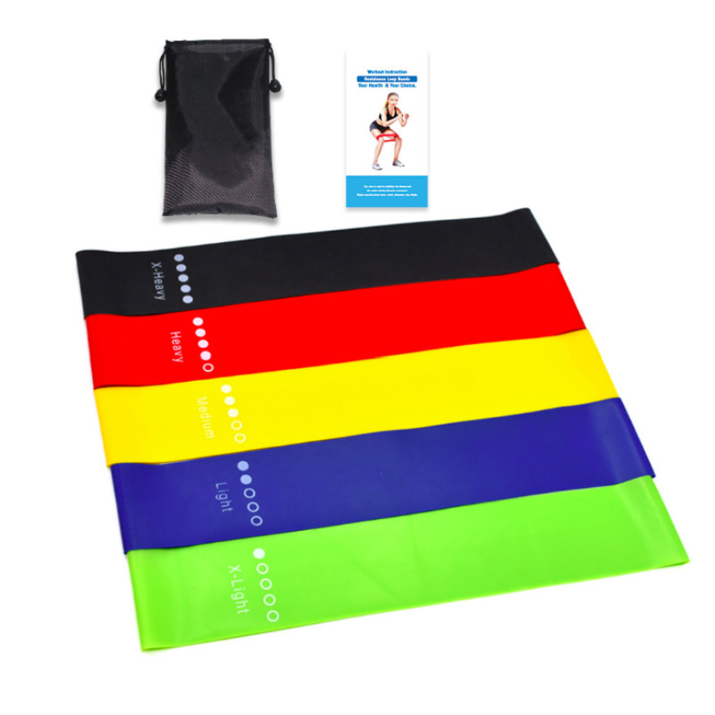 5 Level Yoga Resistance Rubber Bands Pilates Sport Training Workout Elastic Bands Indoor Outdoor Fitness Equipment 0.35mm-1.1mm
