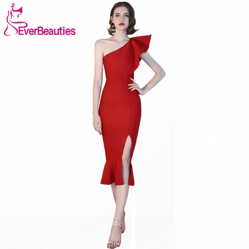 Mermaid Cocktail Dresses 2019 Wine Red Women Short Prom Party Dresses Homecoming Dresses One Shoulder Robe De Cocktail