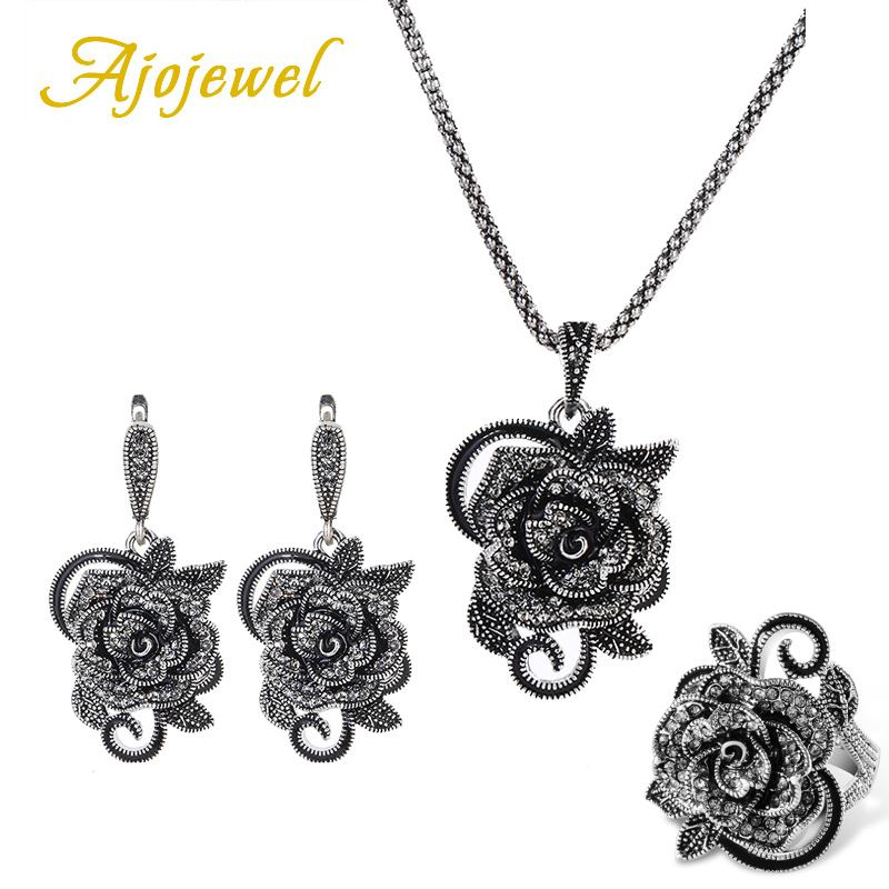 Ajojewel Luxury Black Crystal Rhinestone Rose Flower Jewelry Sets For Women Vintage Necklace Ring Earrings Set Creative Gift a suit of vintage rhinestone leaf necklace and earrings for women page 5