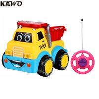 KAWO Cartoon R C Engineering Truck Race Car Radio Control Toy For Toddlers And Kids Yellow