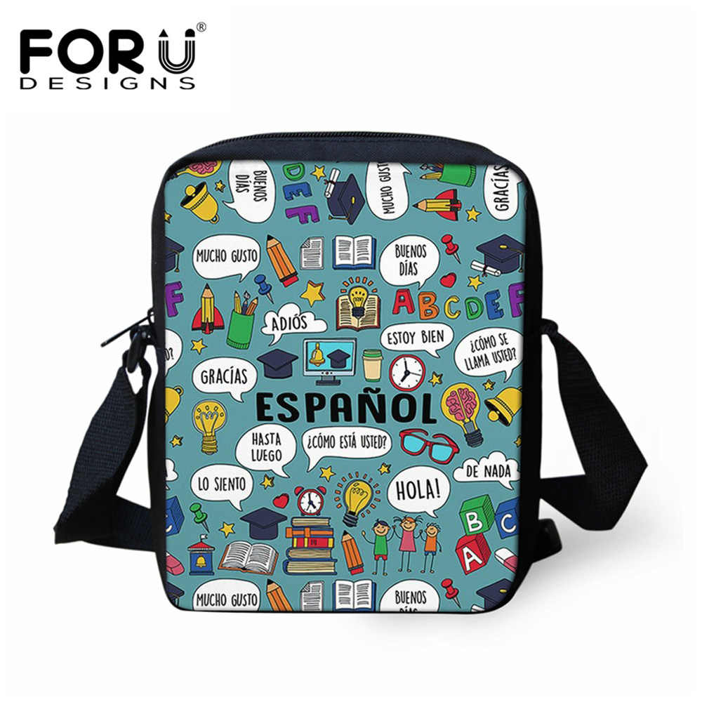 FORUDESIGNS/испанский учитель узор Дети школьные ранцы маленький школьный рюкзак для детского сада Детские повседневное Детский рюкзак Bolsa сумка