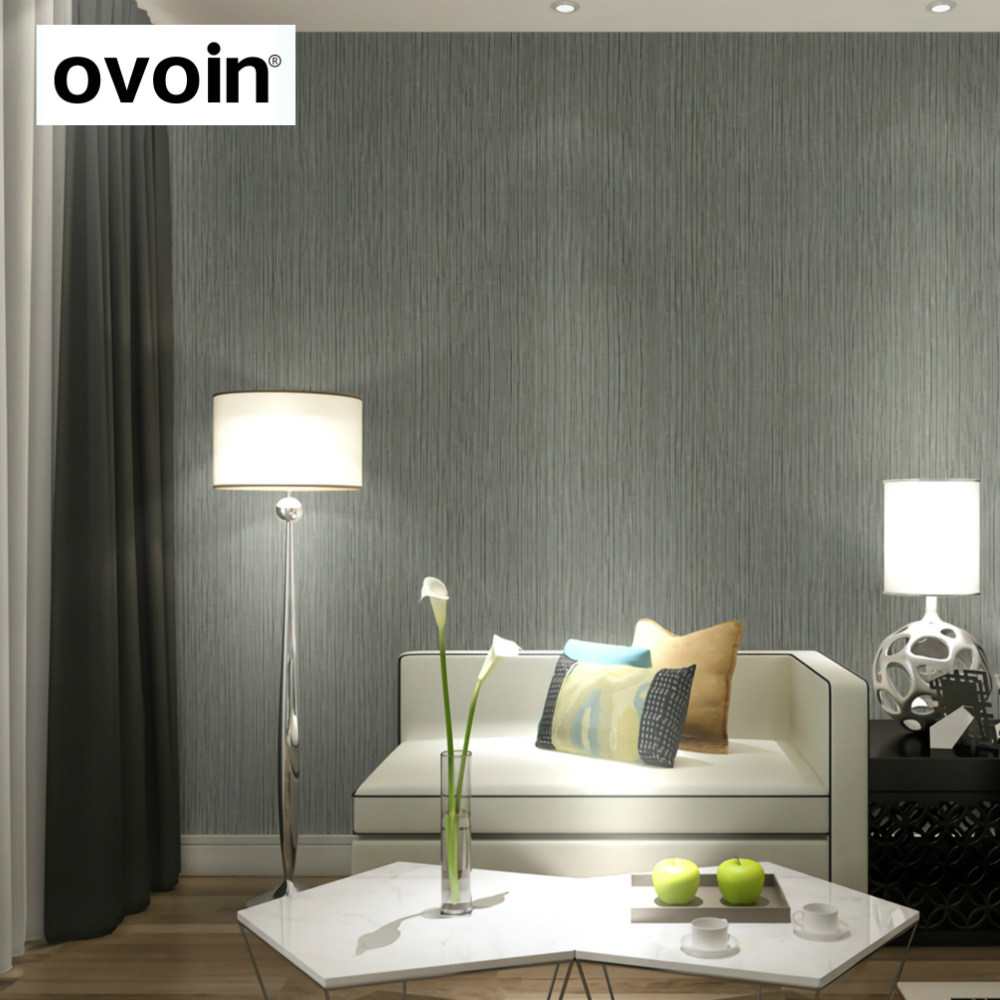 Contemporary Silvers: Plain Modern Silver Vertical Stripes Wallpaper Roll